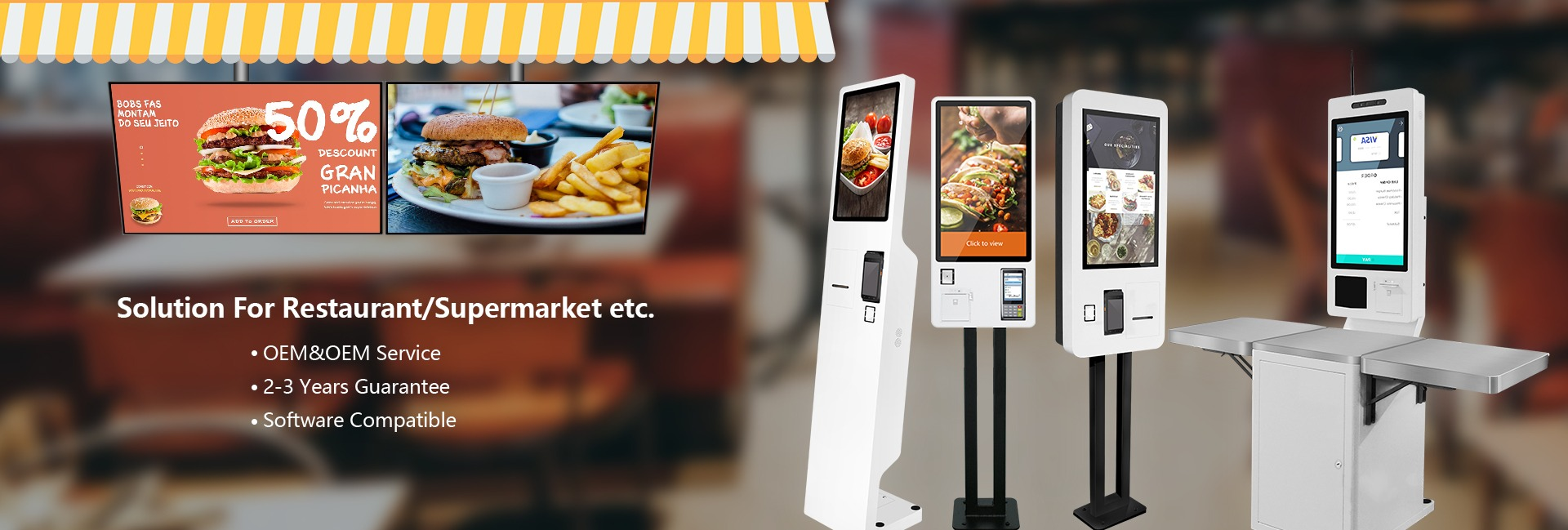 restaurant mobile ordering app Digital Screens and self order kiosk